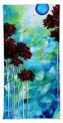 Abstract Landscape Art Original Tree And Moon Painting Blue Moon By Madart Bath Towel
