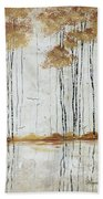 Abstract Neutral Landscape Pond Reflection Painting Mystified Dreams I By Megan Ducanson Bath Towel
