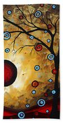 Abstract Original Gold Textured Painting Frosted Gold By Madart Bath Towel