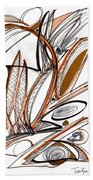 Abstract Pen Drawing Sixty-six Bath Towel