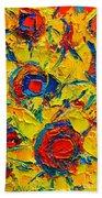 Abstract Sunflowers Bath Towel