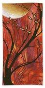 Abstract Wood Pattern Painting Original Landscape Art Moon Tree By Megan Duncanson Bath Towel