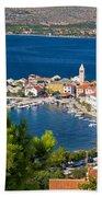 Adriatic Town Of Vinjerac Aerial View Bath Towel