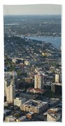 Aerial Image Of The Seattle Skyline  Bath Towel