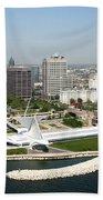Aerial Of Milwaukee Skyline Bath Towel