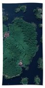 Aerial Of Small Island Village, Uganda Bath Towel