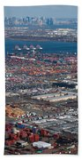 Aerial Over Newark And New Yourk Bath Towel