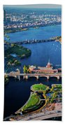 Aerial View Of Bridges Crossing Charles Bath Towel