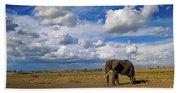 African Elephant Walking Masai Mara Bath Towel