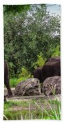African Elephants  Bath Towel