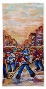After School Winter Fun Street Hockey Paintings Of Montreal City Scenes Carole Spandau Bath Towel