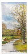 Afternoon In The Auvergne Countryside In Central France Bath Towel