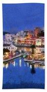 Painting Of Agios Nikolaos City Bath Towel