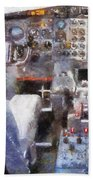 Airplane Cockpit Photo Art Bath Towel
