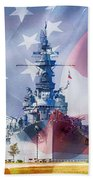 Battleship Alabama And Flag Bath Towel