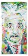 Albert Einstein Watercolor Portrait.1 Bath Towel