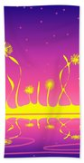 Alien Fire Flowers Bath Towel