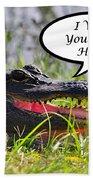 Alligator Greeting Card Bath Towel