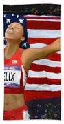 Allison Felix Olympian Gold Metalist Bath Towel