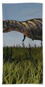 Alluring Aucasaurus In Grassland Bath Towel