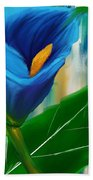 Alone In Blue- Calla Lily Paintings Bath Towel