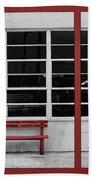 Alone - Red Bench - Windows Bath Towel