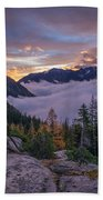Alpine Lakes Morning Cloudscape Bath Towel
