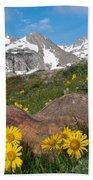 Alpine Sunflower Mountain Landscape Bath Towel