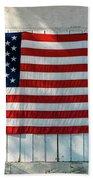 American Flag On Garage After Thomas Bath Towel