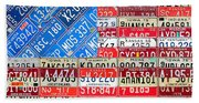 American Flag Recycled License Plate Art Bath Towel