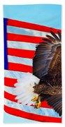 American Flag With Bald Eagle Bath Towel