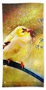 American Goldfinch Gazes Upward  - Series II  Digital Paint With Verse Bath Towel