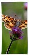 American Lady Butterfly In Garden Bath Towel