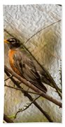American Robin On A Branch Bath Towel