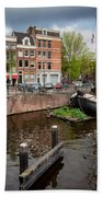 Amstel River Waterfront In Amsterdam Hand Towel