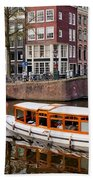 Amsterdam Canal And Houses Hand Towel