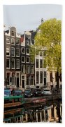 Amsterdam Houses Along The Singel Canal Bath Towel