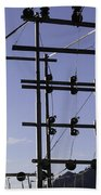An Electric Transmission Pole In The Himalayas Bath Towel
