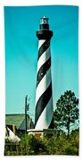 An Image Of Lighthouse In Small Town Bath Towel