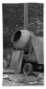 An Old Cement Mixer And Construction Material Bath Towel