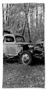 An Old Logging Boom Truck In Black And White Bath Towel