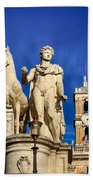Ancient Marble Sculpture Of Castor At The Cordonata Stairs  Bath Towel