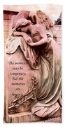 Angel Art - Memorial Angel Weeping Sorrow At Grave With Inspirational Message - Memories Are Forever Bath Towel