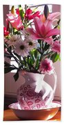Another Grandma's Pitcher With Flowers Bath Towel