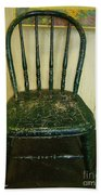 Antique Child's Chair With Quilt Bath Towel