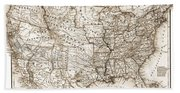 Antique Map 1853 United States Of America Hand Towel