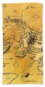 Antique Map Of The Battles Of Lexington And Concord 1775 Bath Towel