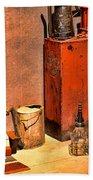 Antique Oil Bottles Bath Towel