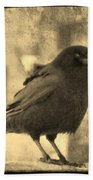 Antique Sepia Crow Bath Towel