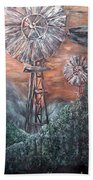 Antique Windmills At Dusk Bath Towel